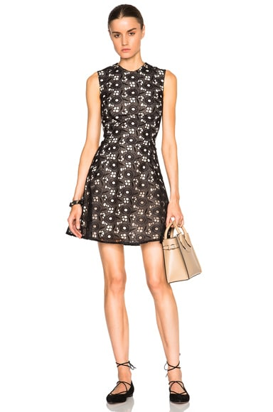 Victoria Beckham Floral Lace Guipure Hexagon Flare Mini Dress in Black