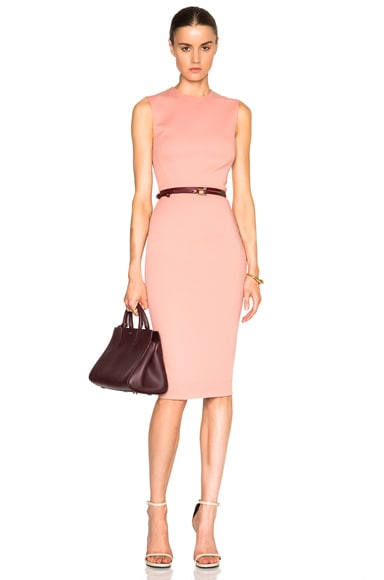Victoria Beckham Microbrush Sleeveless Fitted Dress with Belt in Blush