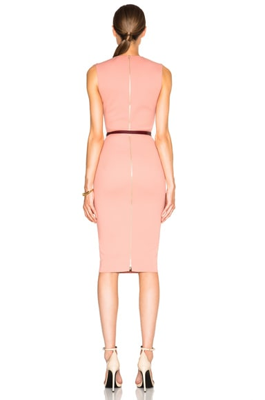 Microbrush Sleeveless Fitted Dress with Belt
