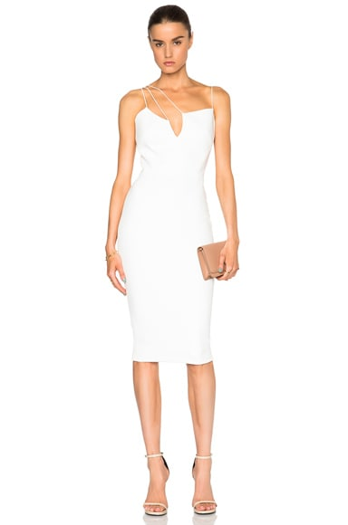Victoria Beckham Matte Crepe Cut Out Dress in White
