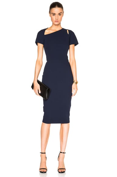 Victoria Beckham Light Matte Crepe Cap Sleeve Cut Out Dress in Navy
