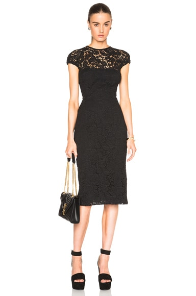 Victoria Beckham Corded Lace Gathered Cap Sleeve Dress in Black