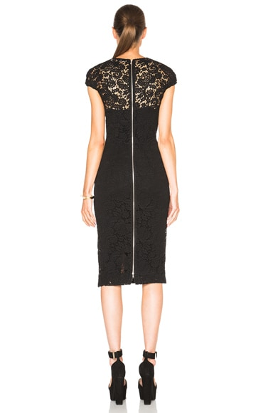 Corded Lace Gathered Cap Sleeve Dress