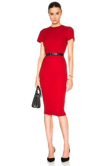 Victoria Beckham Double Crepe T Shirt Fitted Dress in Lipstick