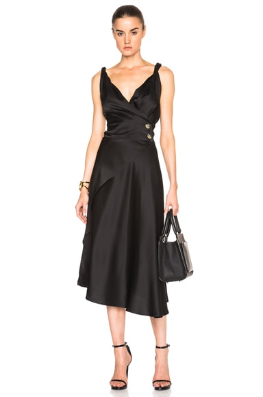 Victoria Beckham Light Crepe Satin Drape Dress in Black