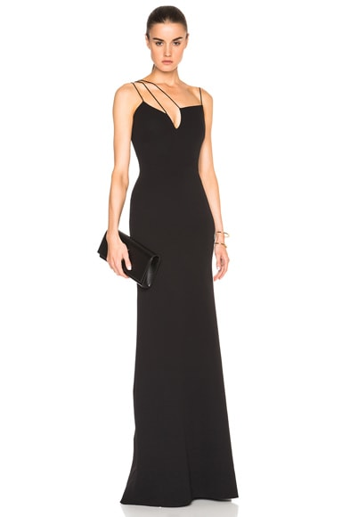 Victoria Beckham Double Crepe Cut Out Gown in Black