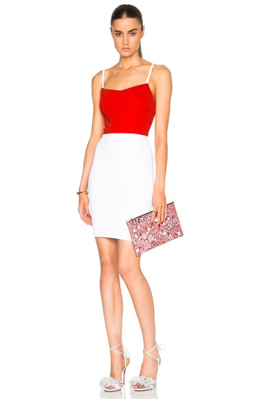 Victoria Beckham Dense Rib Cami Dress in Candy Red & White