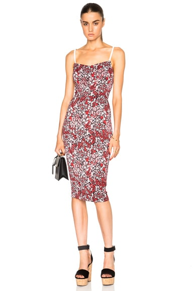 Victoria Beckham Piquet Stretch Cami Dress in Pink Floral Print & White