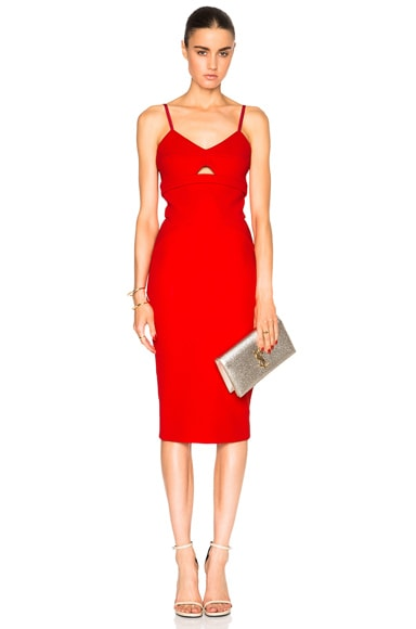 Victoria Beckham Matte Crepe Cami Dress in Candy Red
