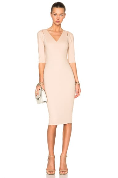 Victoria Beckham 3/4 Sleeve Cut Out Fitted Dress in Nude