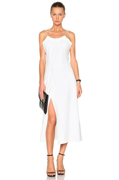 Victoria Beckham Ruched Cami Flared Dress in White