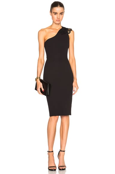 Victoria Beckham Double Crepe & Lace One Shoulder Fitted Dress in Black & Black