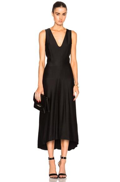 Stain Sable Draped V Neck Dress