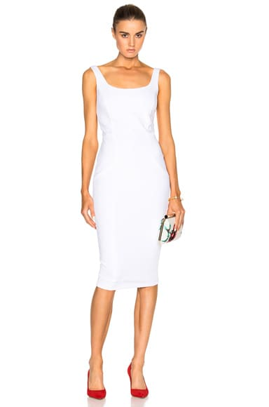 Victoria Beckham Dense Rib Deep Back Fitted Dress in White