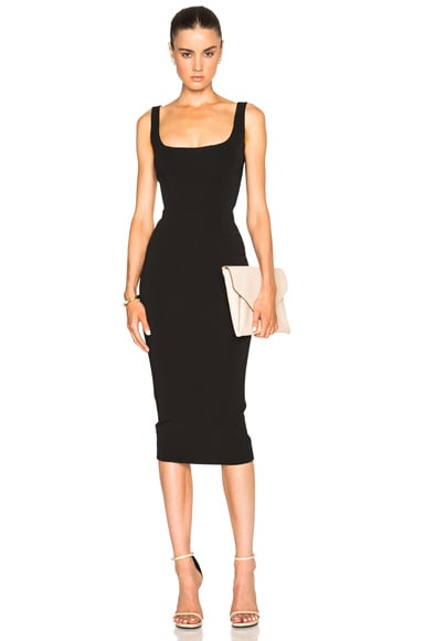 Victoria Beckham Dense Rib Deep Back Fitted Dress in Black