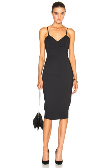 Victoria Beckham Microbrush Cami Fitted Dress in Black