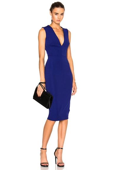Victoria Beckham Dense Rib Deep V Neck Fitted Dress in Deep Cobalt