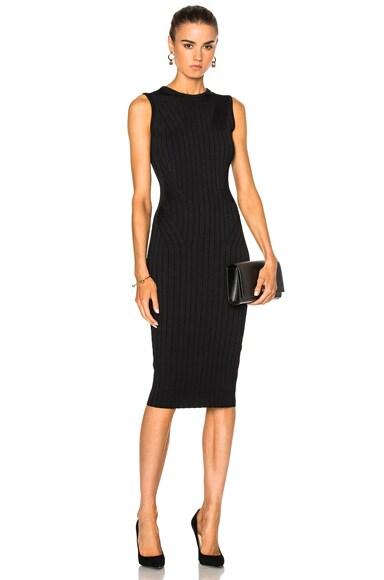 Victoria Beckham Elite Viscose Wide Rib Crewneck Dress in Black