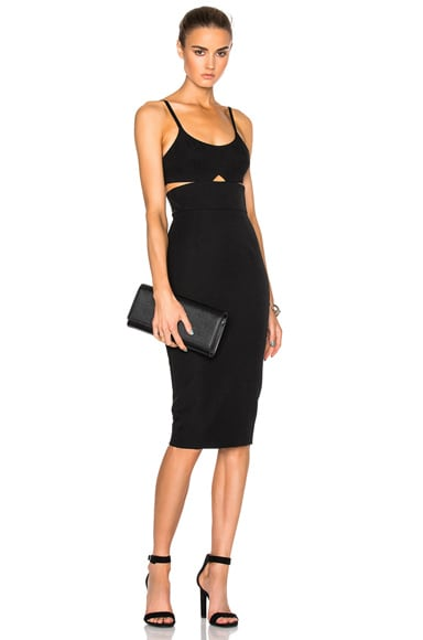 Wool Gabardine Rib Cut Out Fitted Dress