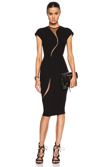 Victoria Beckham Cap Sleeve Insert Dress in Black
