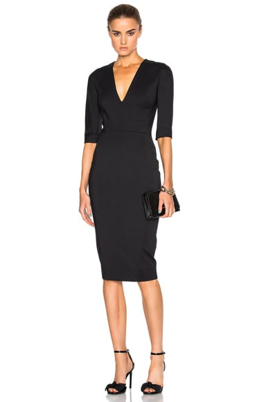 Victoria Beckham Microbrush Short Sleeve Fitted Dress in Black
