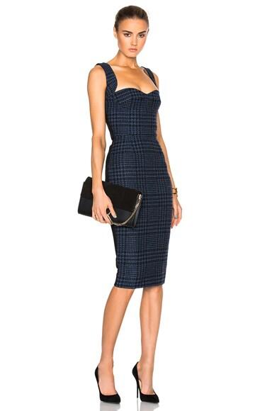 Victoria Beckham Houndstooth Cami Dress in Navy, Pale Blue & Black