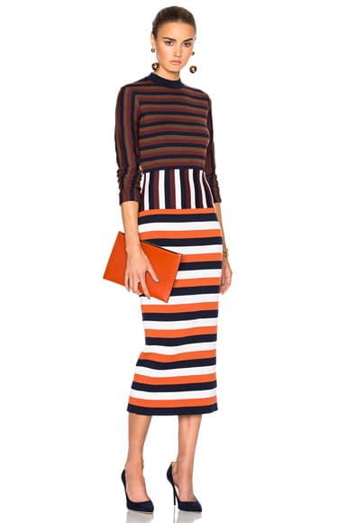 Victoria Beckham Compact Wool Striped Deconstructed Dress in Multi