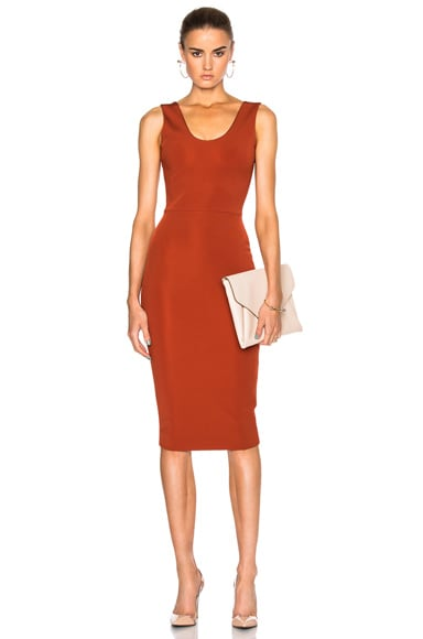 Victoria Beckham Dense Rib Tank Fitted Dress in Terracotta