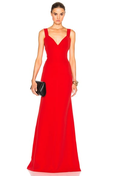Victoria Beckham Double Crepe Camisole Floor Length Dress in Scarlet Red