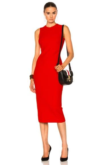 Victoria Beckham Elite Viscose Dress in Crimson
