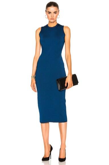 Victoria Beckham Shine Viscose Dress in Lapis Blue