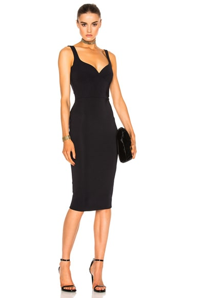 Victoria Beckham Dense Rib Cami Curve Fitted Dress in Navy