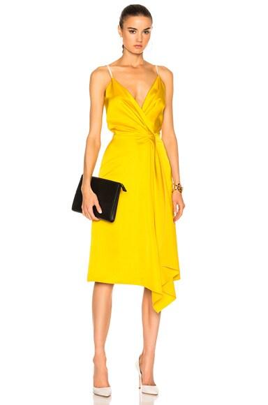 Victoria Beckham Heavy Fluid Silk Wrap Dress in Yellow & Pale