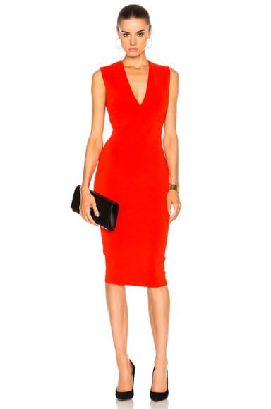 Victoria Beckham Matte Jersey Sleeveless V Neck Fitted Dress in Crimson
