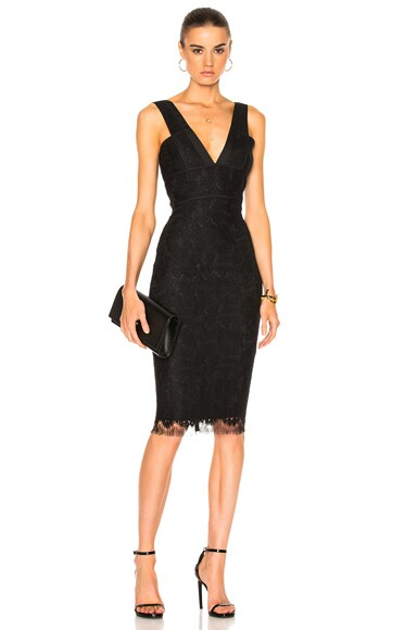 Victoria Beckham Floral Lace V Neck Fitted Dress in Black