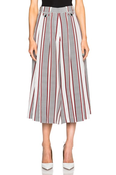 Victoria Beckham Houndstooth CDC Pleated Culottes in Black, Red & White