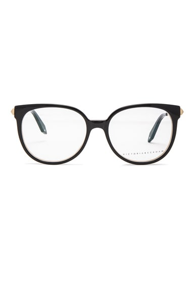 Victoria Beckham Fine Oval Kitten Optical in Black on Light Horn