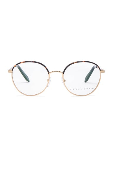 Victoria Beckham Windsor Round Optical in Amber Tort