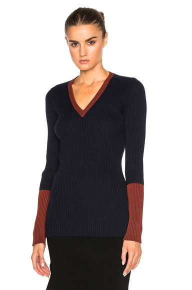 Wool Rib Shine Fitted V Neck Sweater
