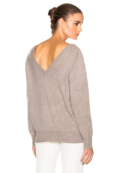 Victoria Beckham Felted Lambswool Double V Neck Jumper in Tawny Grey