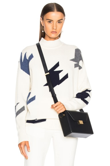 Houndstooth Cashmere Turtleneck Sweater