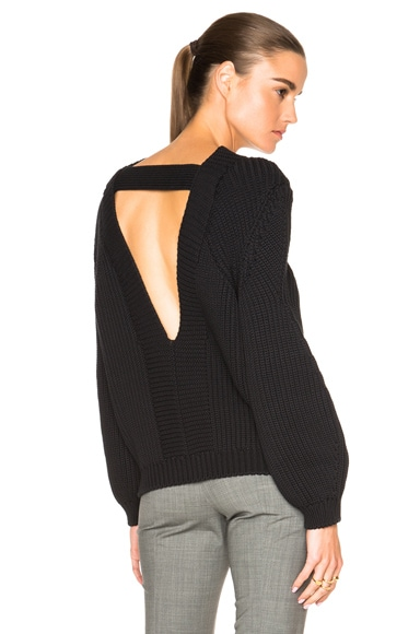 Victoria Beckham Round Sleeve Jumper in Black