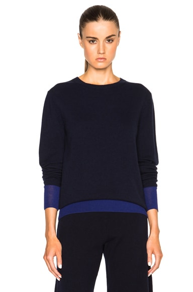 Cashmere Silk Trim Crewneck Sweater