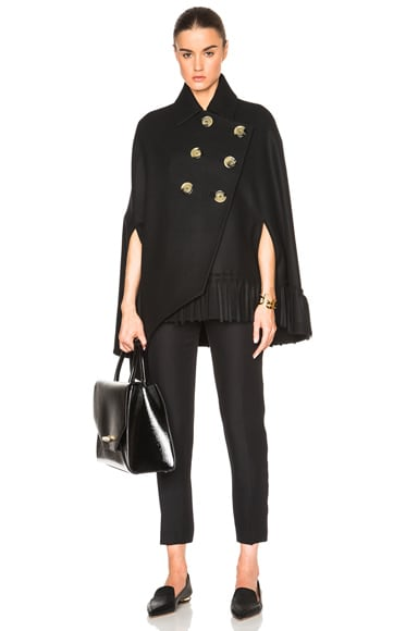 Victoria Beckham Smooth Felt Tassel Cape in Black