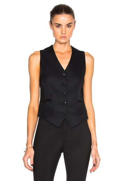 Victoria Beckham Sable Wool & Viscose Waistcoat in Black