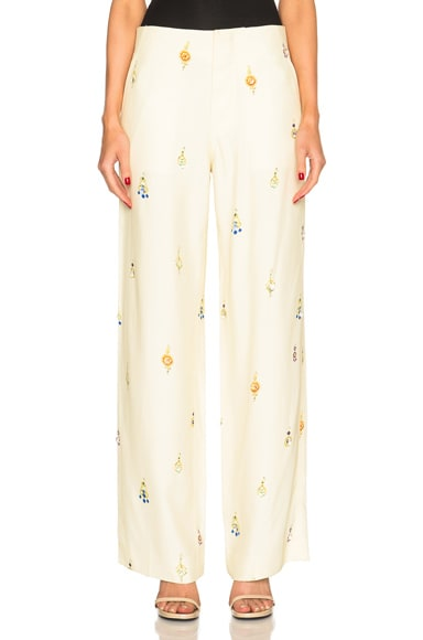 Victoria Beckham Drape Viscose Wide Leg Earring Print Trousers in Ivory