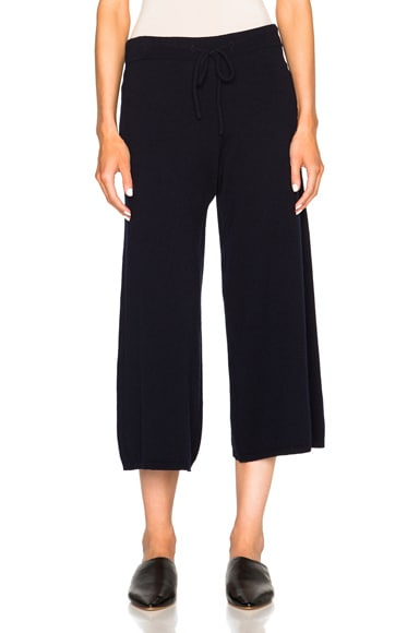 Victoria Beckham Cashmere Cable Stitch Trousers in Navy