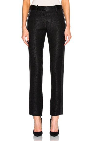 Victoria Beckham Sable Wool Satin Tuxedo Trousers in Black