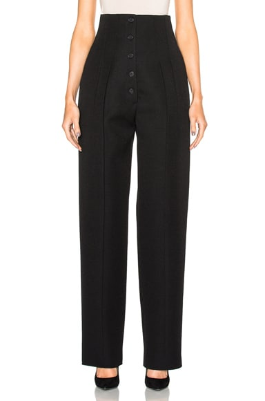Wool Gabardine High Waisted Trousers