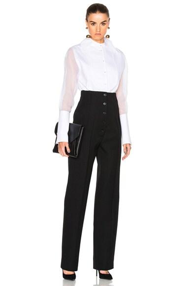 Wool Gabardine High Waisted Trousers